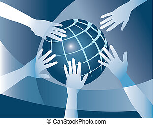 world unity - Hands team up to make the world a better place