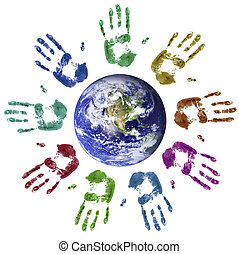 World unity - Multi-coloured hands joined around the world (...