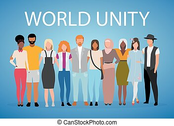 World unity poster vector template. International, multinational friendship, cooperation. Brochure, cover, booklet page concept with flat illustrations. Advertising flyer, leaflet, banner layout idea