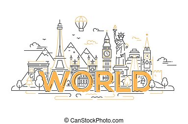 World - vector line travel illustration