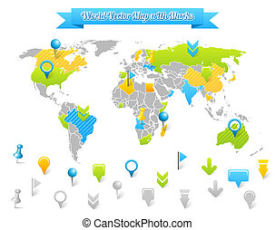 World Vector Map with Marks