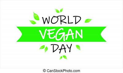 World vegan day banner typography, art video illustration.