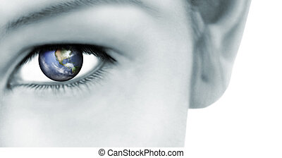 World Vision - Rendered earth reflected in her eye: World...