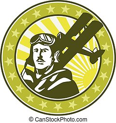 Illustration of a vintage world war one pilot airman aviator bust with spad biplane fighter planes, sunburst and stars in background set inside circle done in retro style.