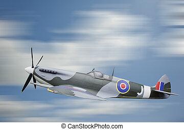 World War 2 era British aircraft Spitfire in flight