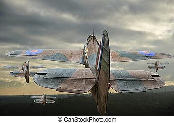 World War 2 era European aircraft Hurricane in flight