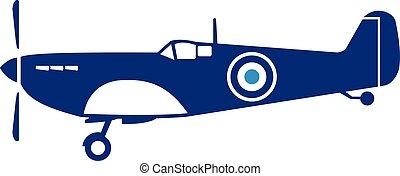 World War 2 Fighter Plane Spitfire Retro