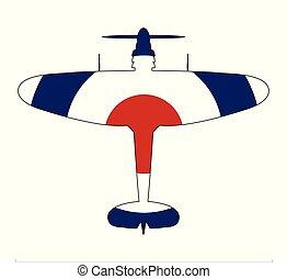 World War 2 Fighter Red White Blue Silhouette