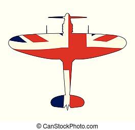 World War 2 Fighter Union Jack Silhouette