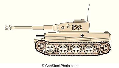 World War 2 German Tank - Line drawing of a World War 2...