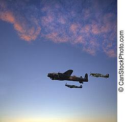World War 2 RAF airplanes flying at sunset - World War 2 RAF...