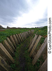 A muddy world war 2 trench