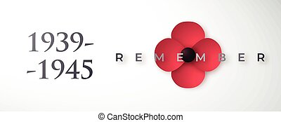 World War II commemorative banner with poppy flower.