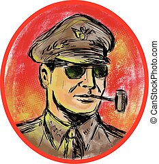 World War II General Corn Cob Pipe Watercolor