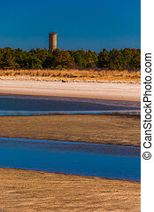 World War II Lookout tower and beach at Cape Henlopen State Park, Delaware.