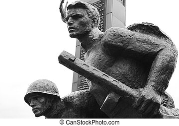 World War II Memorial in Polotsk, Belarus. Black and white