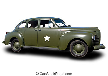 Staff Car - World War II Staff Car Isolated on White