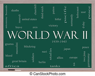 World War II Word Cloud Concept on a Blackboard with great...