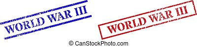 WORLD WAR III Textured Rubber Stamp Seals with Rectangle Frame
