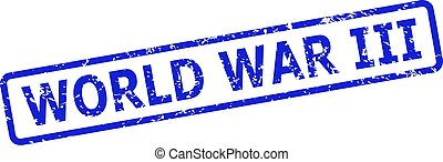 WORLD WAR III Watermark with Grunge Surface and Rounded Rectangle Frame
