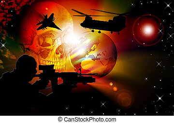 World war - Illustration of a scenery of war with helicopter...