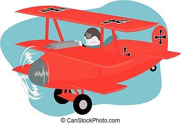 Cartoon image of a german fighter pilot of world war one.