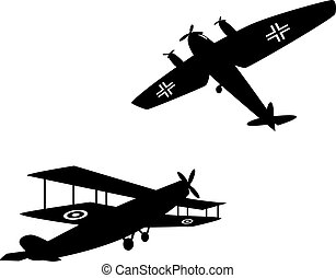 World War One planes - Silhouettes of planes from First...
