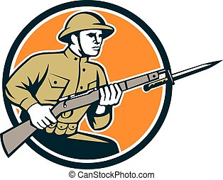 World War One Soldier American Retro Ciircle - Illustration...