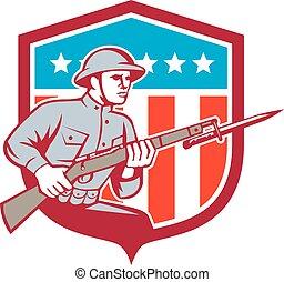 World War One Soldier American Retro Shield