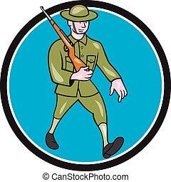 World War One Soldier British Marching Circle Cartoon