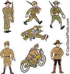 world-war-one-soldier-cartoon-set