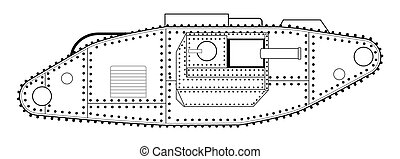 World War One Tank Line Drawing - An early World War One...