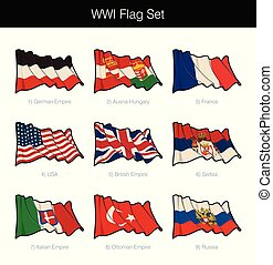 World War One Waving Flag Set. The set includes the flags...