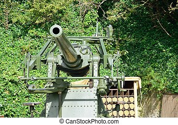 World war two anti aircraft gun with shells