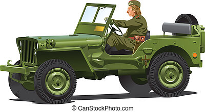 World war two army jeep. - Vector .eps 8 illustration of...