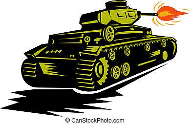 world war two battle tank firing its cannon - illustration...
