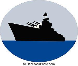 world-war-two-destroyer-qtr-view-side-firing-retro
