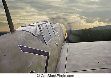 World War Two era German airplane in flight - World War 2...