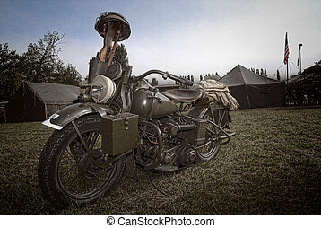 world war two military motorcycle with gun and equipment
