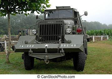 world war two military truck in the meadow