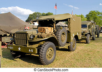 world war two military vehicle with lot of equipment