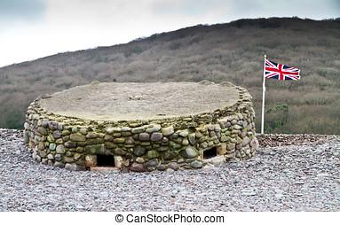 World War Two Pillbox on the Bristol Channel coast at...