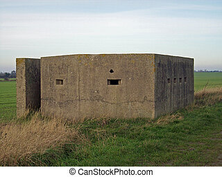 World War Two Pillbox - World War Two concrete pillbox on...
