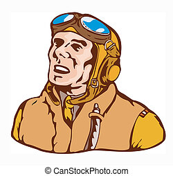 World War Two Pilot Airman Retro - Illustration of a world...