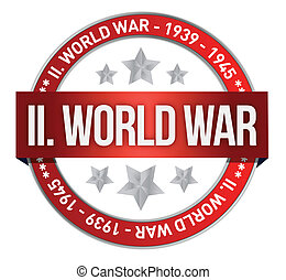world war two red seal stamp illustration design over white