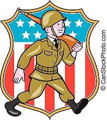 World War Two Soldier American Cartoon Shield