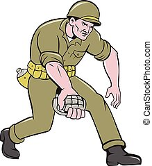 World War Two Soldier American Grenade Cartoon -...