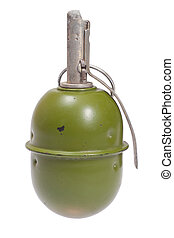 World War Two Soviet hand grenade isolated on a white...
