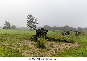 World war two soviet military cannon on position