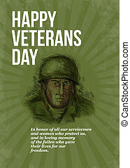 World War two Veterans Day Soldier Card Sketch - Greeting...